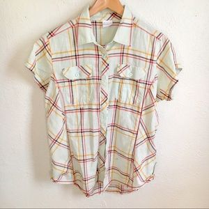 [Columbia] Plaid Cotton Short sleeve top